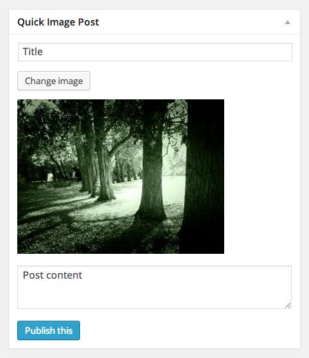 WP Quick Image dashboard widget